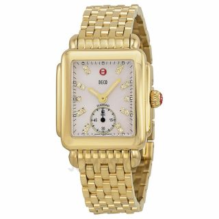 Michele Deco Mother of Pearl Dial Gold plated Ladies Watch