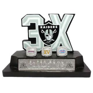 Oakland Raiders 3 Time Super Bowl Champions Commemorative On The Fifty Desk Logo