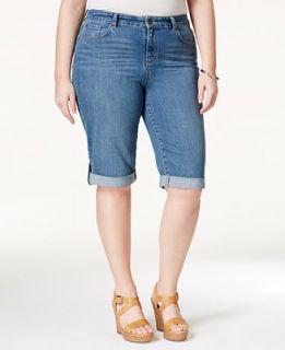 Style&co. Plus Size Shorts, Ex Boyfriend Bermuda Denim, Sea Glass Wash
