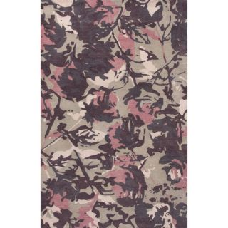 Contemporary Floral & Leaves Pattern Pink/Beige Wool Area Rug (5x8