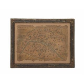 Woodland Imports Unmissable and Cool Wood Framed Antique Map Wall D cor