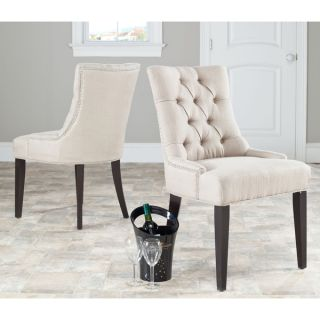 Safavieh En Vogue Dining Abby Beige Linen Nailhead Side Chairs (Set of