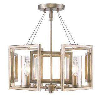Golden Lighting 6068 SF WG Marco 4 Light Convertible Semi Flush in White Gold with Clear Glass