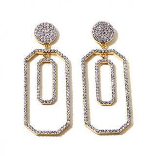 Jewels by Jen 4.05ctw CZ Goldtone Pavé Octagonal Drop Earrings   8112331
