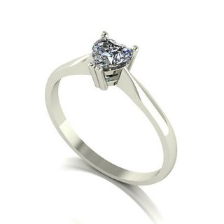 Moissanite 9ct white gold 6.5mm 1/2ct equivalent heart ring