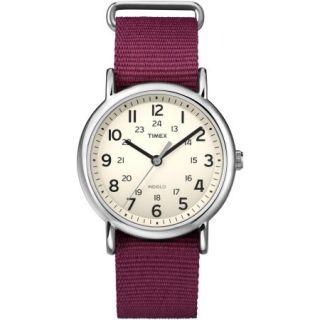 Timex Weekender Watch, Dark Red Nylon Slip Thru Strap