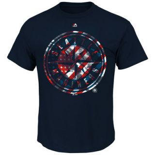 Seattle Mariners Majestic Stars and Stripes Spirited T Shirt   Navy
