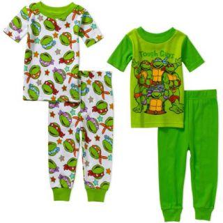 Teenage Mutant Ninja Turtles Infant Baby Boy Cotton Tight Fit Short Sleeve Pajama Set, 4 Pieces