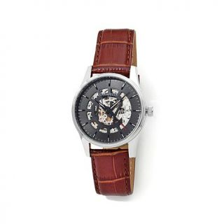Caravelle New York by Bulova Men's Skeleton Dial Brown Leather Strap Watch   7444886