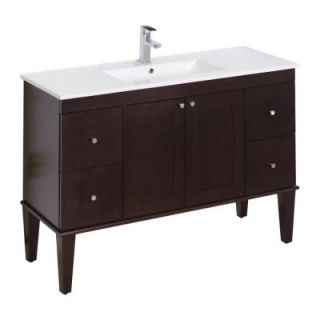 American Imaginations 48 in. W x 18 in. D Birch Wood Veneer Vanity Set In Antique Walnut 517