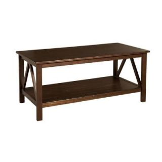 Linon Home Decor Titian Pine and Painted MDF Antique Tobacco Coffee Table 86151ATOB 01 KD U