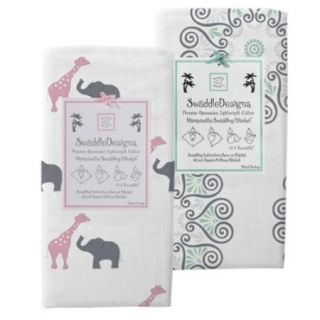 SwaddleDesigns 2 Pack Marquisette Swaddle Blanket, Girls, Option 11