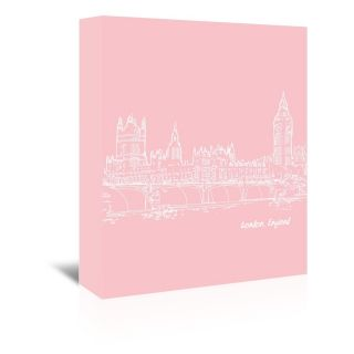 Skyline London 9 Graphic Art on Wrapped Canvas in Pink by Americanflat
