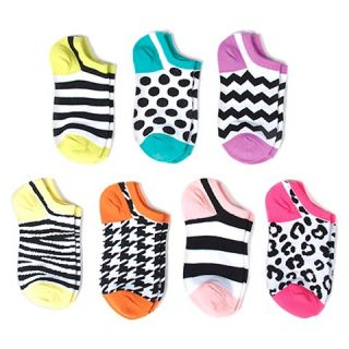 Girls 7 Pack No Show Socks   Multicolored