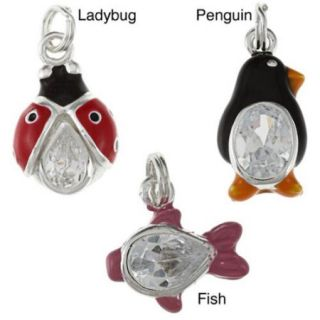 La Preciosa Sterling Silver Cubic Zirconia and Enamel Animal Charm Fish