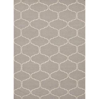 Handmade Geometric Flat Weave Gray Wool Rug (5 x 8)   14961782