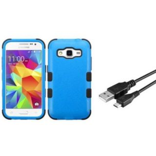 Insten Tuff Hard Hybrid Cover Case For Samsung Galaxy Core Prime   Blue/Black (+ USB Data Sync Charge Cable)