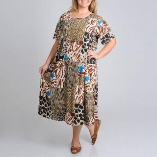 La Cera Womens Plus Size Short Sleeve Animal Printed Dress