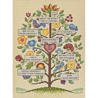 "Dimensions Vintage Family Tree Counted Cross Stitch Kit, 9"" x 12"", 14 Count"