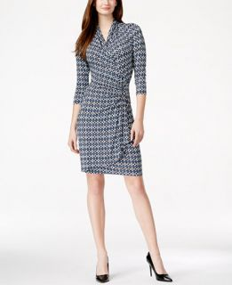 Karen Kane Diamond Print Wrap Dress   Dresses   Women