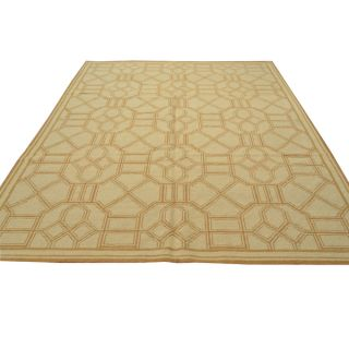 Ivory Geometric Design Flat Weave Hand knotted Wool Area Rug (8 x 10