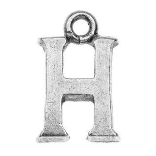 Nunn Design Alphabet Charm, Letter H 14.5mm, 1 Piece, Antiqued Silver