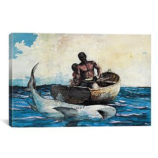 iCanvas Shark Fishing 1885 by Winslow Homer Painting Print on Canvas; 26 H x 40 W x 0.75 D