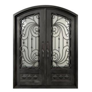 Iron Doors Unlimited 62 in. x 98 in. Mara Marea Classic 3/4 Lite Painted Silver Pewter Decorative Wrought Iron Prehung Front Door IM6298REPS