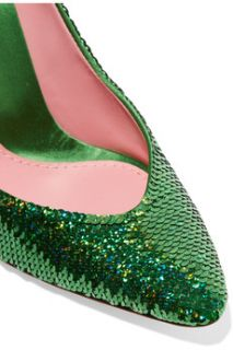 Sequined satin pumps  Moschino