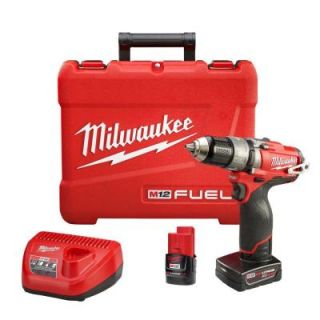 Milwaukee M12 FUEL 12 Volt Lithium Ion Brushless 1/2 in. Hammer Drill/Driver Kit with Free M12 4.0Ah Extended Capacity Battery 2404 22 48 11 2440