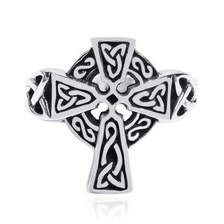 Celtic Knot Embellished Cross .925 Sterling Silver Ring (Thailand