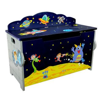 Fantasy Fields Outer Space Hand Crafted Kids Wooden Toy Chest with Safety Hinges    Teamson Design Corp