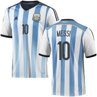 Messi #10 Argentina adidas 2014 World Soccer Replica Home Jersey   White