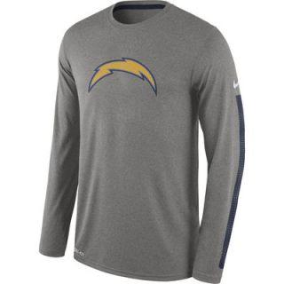 San Diego Chargers Nike Legend Logo Long Sleeve Performance T Shirt   Heather Gray