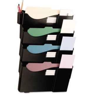 Universal Grande Central Filing System, 4 Pocket, Wall Mount, Plastic, Black