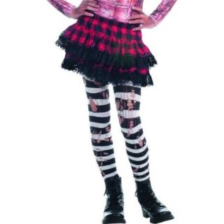 Zombie Ripped Black & White Striped Tights Costume Hosiery Child