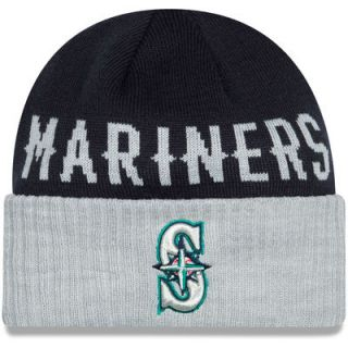 Seattle Mariners New Era Classic Cover Cuffed Knit Hat   Navy/Heather Gray