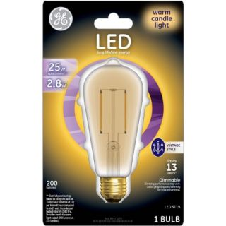 GE 25W Equivalent (Uses 2.8W) General Purpose A19 Vintage LED Bulb, 1 Pack