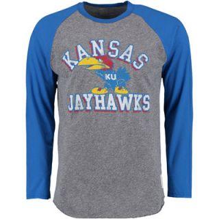 Kansas Jayhawks Original Retro Brand Long Sleeve Raglan T Shirt   Gray