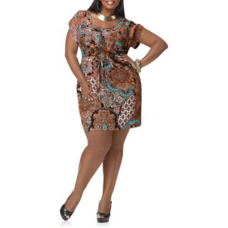Miss Tina   Women's Plus Size Tie Waist Zipper Detail Military Dress