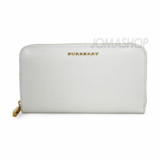 Burberry Patent London Leather Zip Around Wallet   White