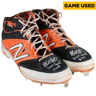 Matt Duffy San Francisco Giants  Authentic Autographed 2015 Season Game Used Orange and Black New Balance Cleats #2 with Game Used 2015 Inscription