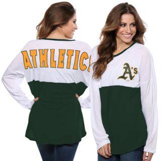Oakland Athletics Concepts Sport Womens Comeback Long Sleeve T Shirt   White/Green