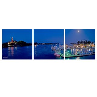 Boats at Night by Bruce Bain 3 Piece Photographic Print on Wrapped