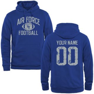 Air Force Falcons Personalized Distressed Football Pullover Hoodie   Royal