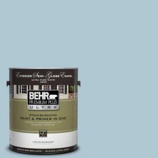 BEHR Premium Plus Ultra 1 gal. #S470 2 Gentle Sea Semi Gloss Enamel Exterior Paint 585001