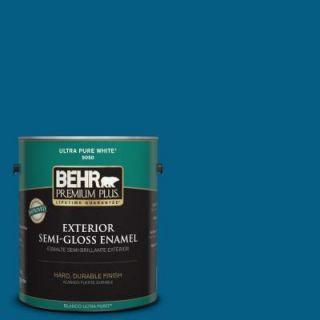 BEHR Premium Plus 1 gal. #S H 550 Sapphire Sparkle Semi Gloss Enamel Exterior Paint 534001