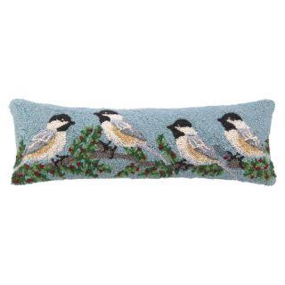 Peking Handicraft Winterberry Chickadee Hook Wool Throw Pillow