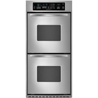 KitchenAid Architect Series 24 in. Double Electric Wall Oven Self Cleaning with Convection in Stainless Steel KEBC247VSS