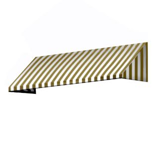 Awntech 604.5 in Wide x 36 in Projection Linen/White Stripe Slope Window/Door Awning
